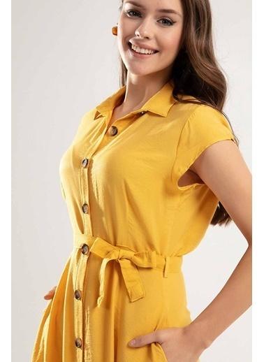 Pattaya Pattaya Kadın Kuşaklı Kısa Kollu Kloş Gömlek Elbise Y20S110-1677 Hardal